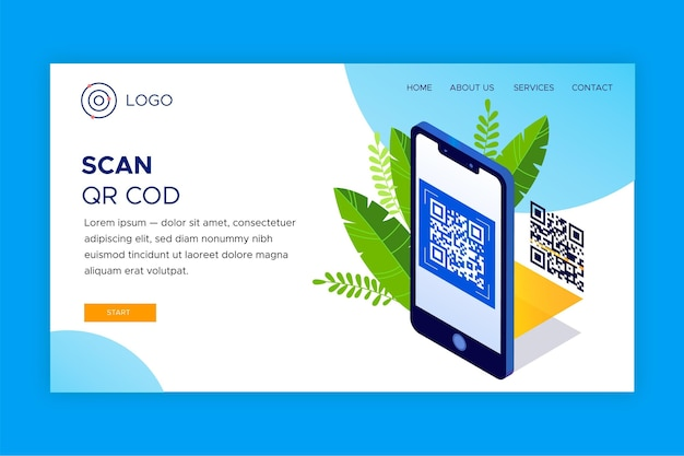 Qr code verification landing page template with phone