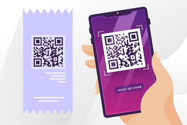Qr code with hand holding phone