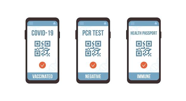 Qr-код с тестом пцр, вакциной и паспортом здоровья.