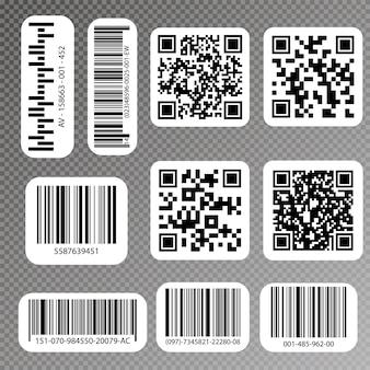 Qr 코드 및 바코드 레이블. 산업용 바코드 라벨.