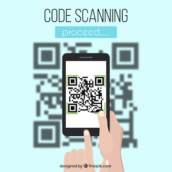 Qr and mobile code blurred background