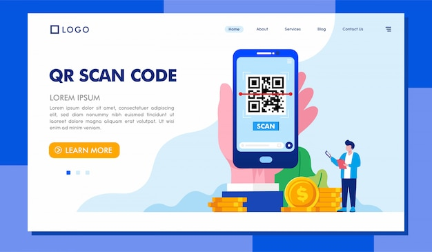 Qr scan code landing page illustration template