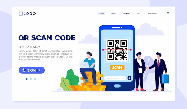 Qr scan code landing page website illustration vector template