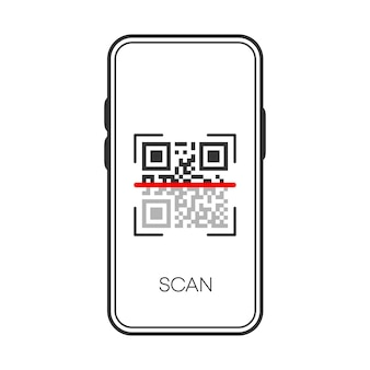 Qr scan verification on phone black icon isolated on white background.