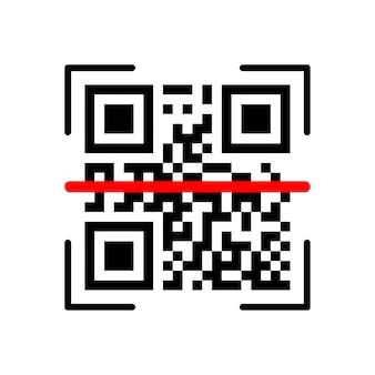 白い背景の上のqrスキャン検証アイコン。ベクトルイラスト。