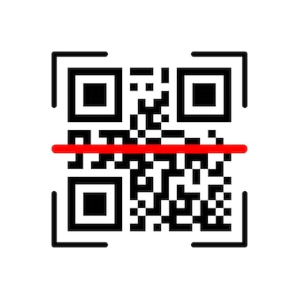 Qr scanning verification icon on white background. vector illustration. Premium Vector