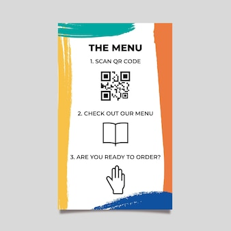Qr template of colorful menu