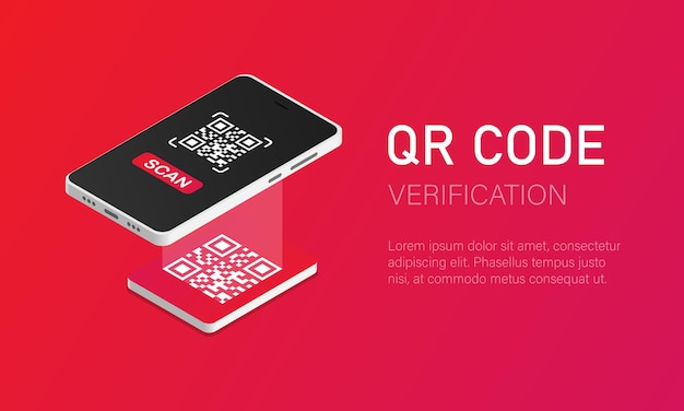 Qr 확인 스캐너가 있는 휴대전화는 아이소메트릭 스타일로 qr 코드를 읽습니다.