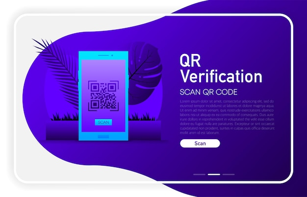 Qr verification on phone screen on dark gradient color. browser window. vector illustration.
