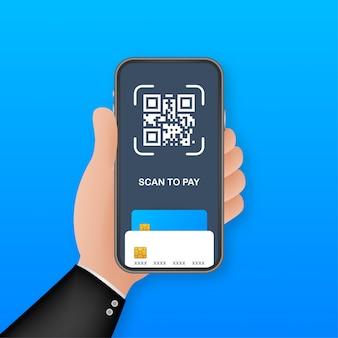 スキャンして支払います。詳細、技術、ビジネスコンセプトの紙にqrコードをスキャンするスマートフォン。図。
