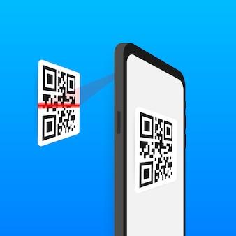 Сканируйте qr-код на мобильный телефон. электронные, цифровые технологии, штрих-код.
