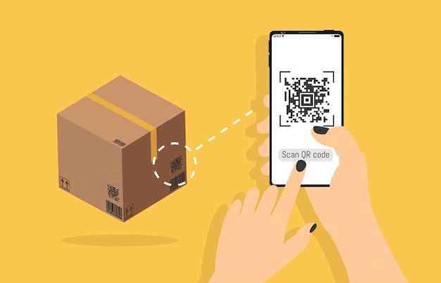 Qrコード関連のベクトル線アイコンは、スマートフォンの配達ボックスをスキャンし、モバイルの現実的なスタイルを手に、ショップの識別製品を使用して、データをスキャンします。