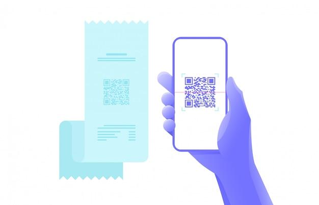 Оплата с помощью смартфона сканирует qr-код. графический дизайн.