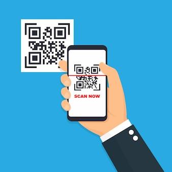 Сканирование qr-код плоский значок с телефоном. штрих-код. иллюстрации.