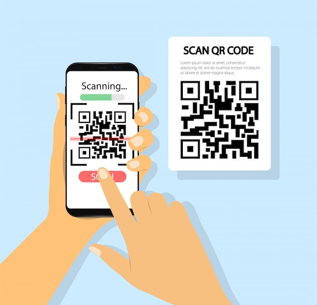 携帯電話でqrコードをスキャンします。手に電話。