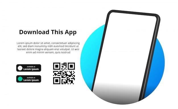Страница баннерной рекламы для скачивания приложения для мобильного телефона, смартфона. скачать кнопки с шаблоном сканирования qr кода.