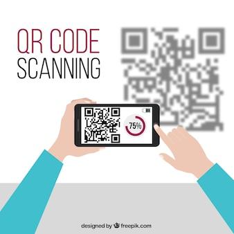 Мобильный фон технологии и код qr