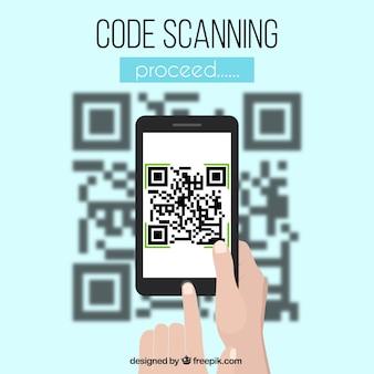 Qr и мобильный код размытый фон