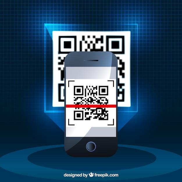 Реалистичный фон мобильного телефона с кодом qr