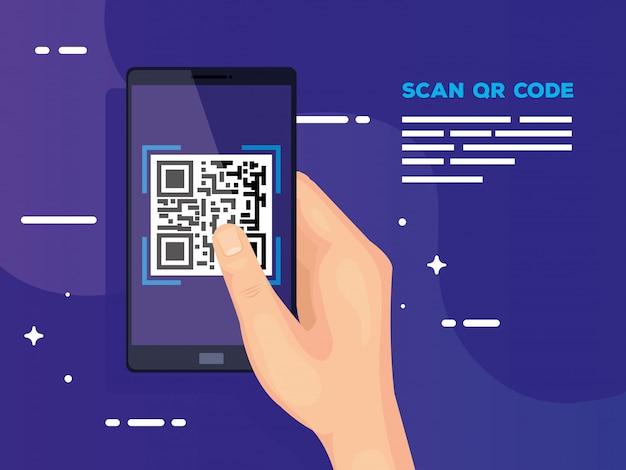 スマートフォンでハンドユーザースキャンコードqr