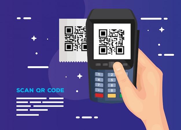 ハンドユーザースキャンコードqrとデータフォン