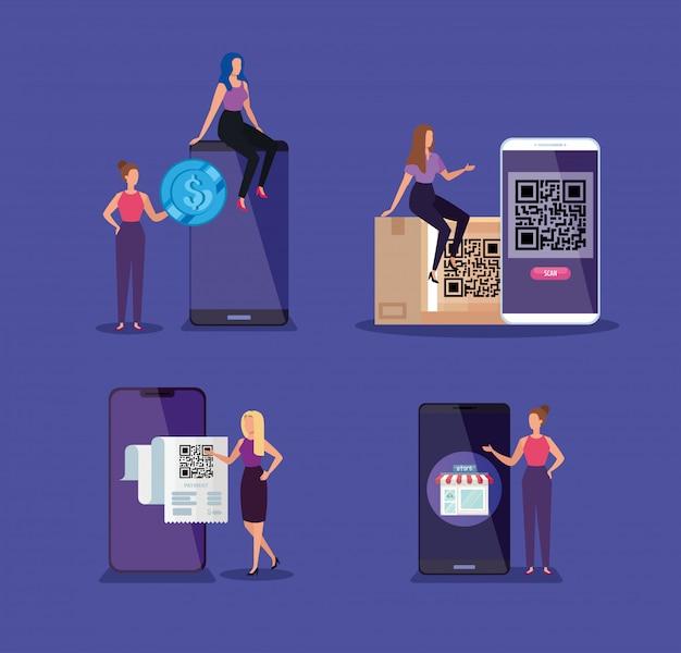 スマートフォンとコードqrを持つビジネス女性