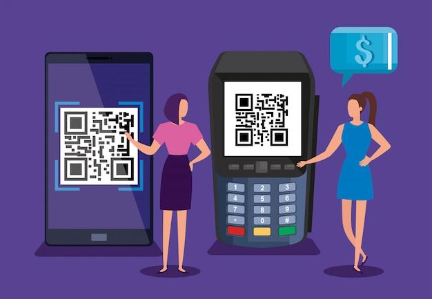 スキャンコードqrスマートフォンとデータフォンビジネス女性ベクトルイラストデザイン