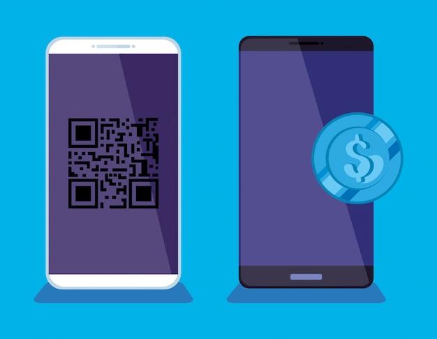 Смартфоны со скан-кодом qr и иллюстрацией монеты