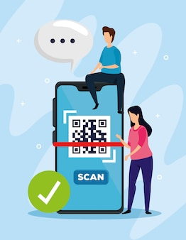 スマートフォンとビジネスカップルでコードqrをスキャンする