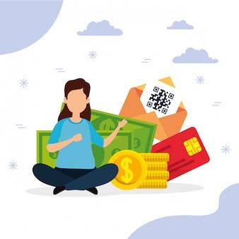 Qrコードとお金を持つ女性