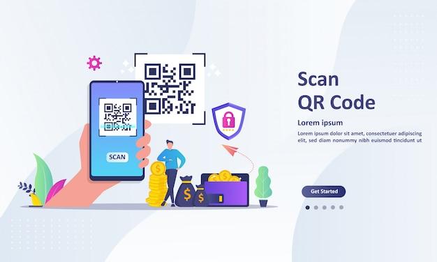 スマートフォンを使用してコードをスキャンする人々とqrコードスキャンの概念