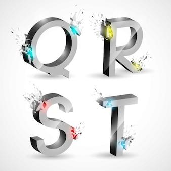 Взрывающиеся письмо дизайн qrst