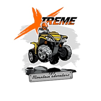 Quad bike atv logo with xtreme mountain adventure inscription, isolated background.