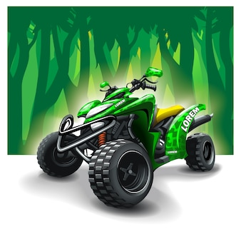Quad bike on forest background