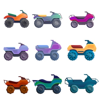 Quad bike set, cartoon style