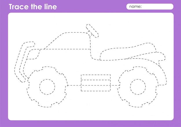 Quad bike - транспортные линии трассировки дошкольного рабочего листа для детей
