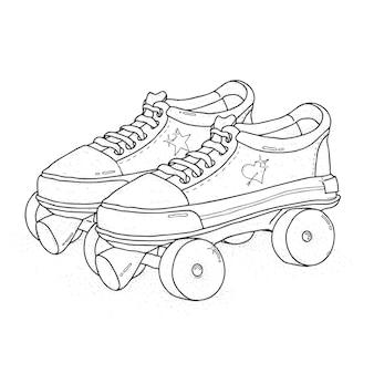 Quad roller skates  . retro laced boots, colorful   illustration.