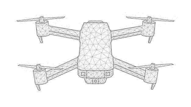 Quadcopter 낮은 폴리 디자인, 무인 항공기 다각형 벡터 일러스트 레이 션. 무인 항공기 컨셉 디자인.
