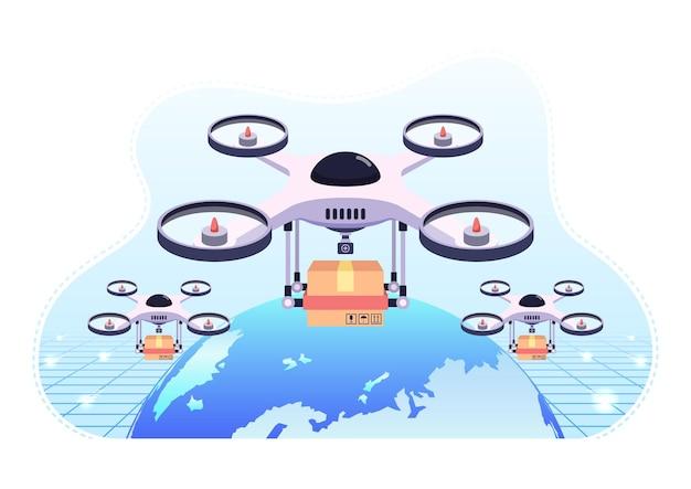 Квадрокоптер или дрон пролетает над земным шаром с посылкой для доставки