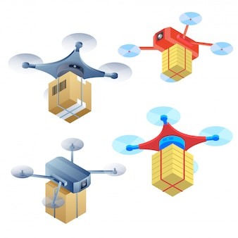 Quadcopter vector illustration in four different styles.