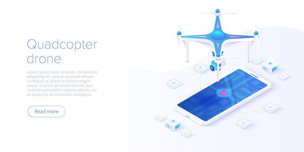 スマートフォンのリモコンの概念を持つクワッドコプター