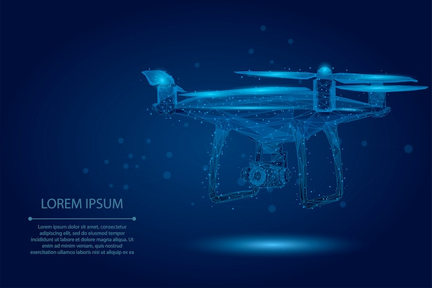 Абстрактная линия месива и точка quadrocopter. полигональный низкополигональный 3d летающий дрон