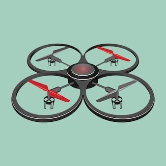 Quadrocopter isolated on light green background.  illustration of quadrotor helicopter or quadrotor, multirotor helicopter lifted and propelled by four rotors in flat realistic style