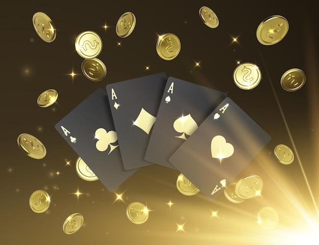 エースによるクワッドまたは4種類。金のラベルと背景に落ちる金のコインが付いた4枚の黒いポーカーカード。ロイヤルスタイルのカジノバナーまたはポスター。ベクトルイラスト