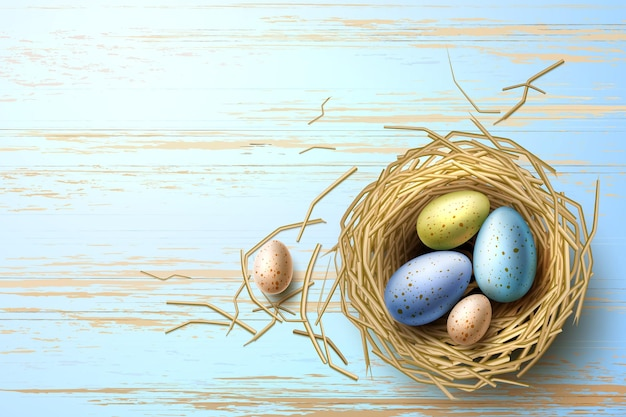 Перепелиные яйца в гнезде на деревянном столе
