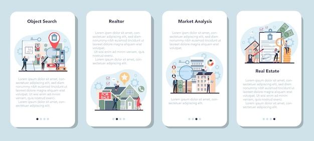 공인 부동산 중개인 또는 부동산 중개인 모바일 애플리케이션 배너 세트