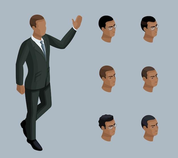質的アイソメトリー、ビジネスマン、アフリカ系アメリカ人の男性。イラストを作成するための一連の感情とヘアスタイルを持つキャラクター