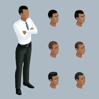 質的アイソメトリー、深刻な姿勢のビジネスマン、アフリカ系アメリカ人の男性。イラストを作成するための一連の感情とヘアスタイルを持つキャラクター