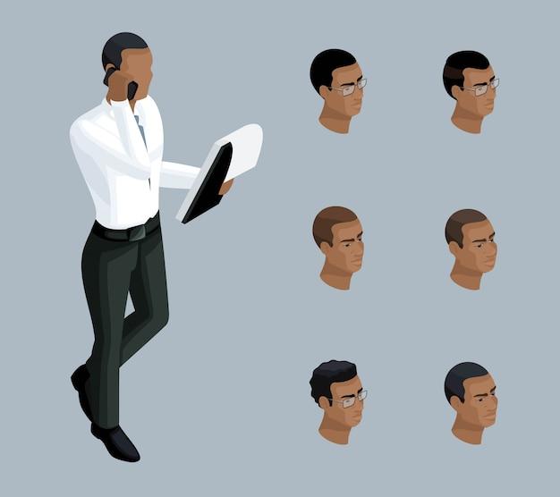 質的アイソメトリー、ビジネスマンが電話で話す、男性はアフリカ系アメリカ人です。イラストを作成するための一連の感情とヘアスタイルを持つキャラクター