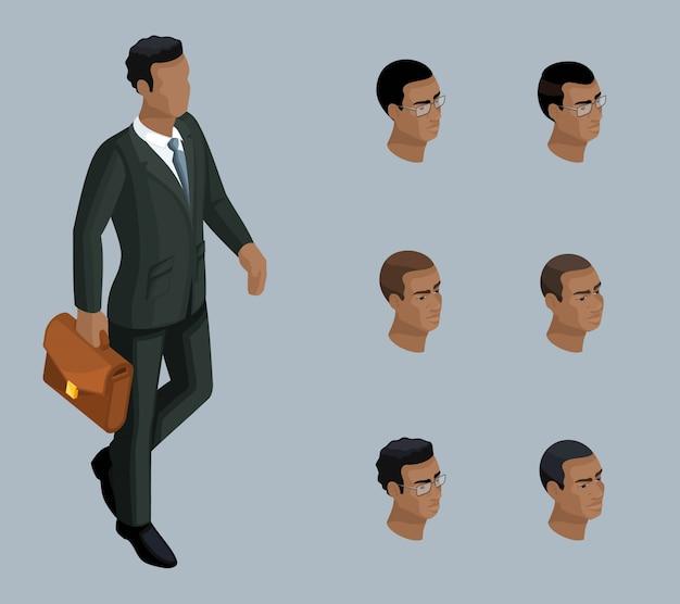 質的アイソメトリー、ブリーフケースを持ったビジネスマン、アフリカ系アメリカ人の男性。イラストを作成するための一連の感情とヘアスタイルを持つキャラクター